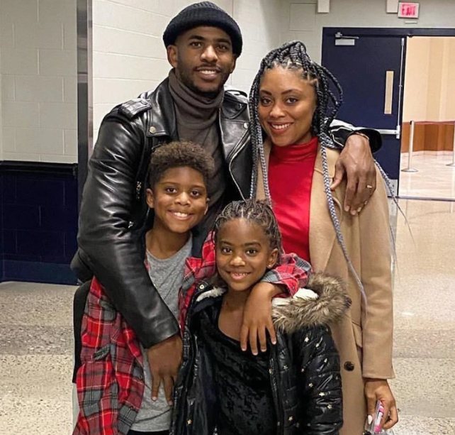 Chris Paul with his wife, Jada Paul and their childrens