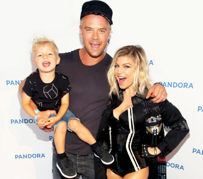 Fergie with her ex-husband, Josh and their kid, Axl
