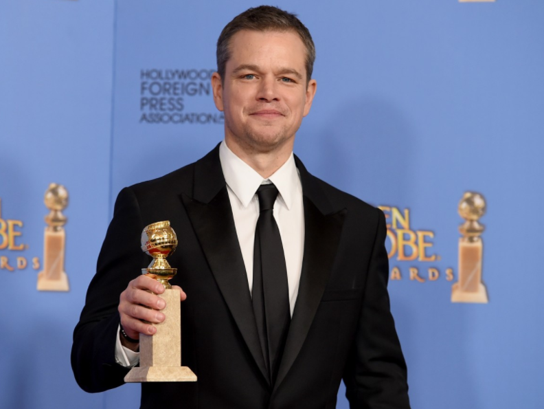 Matt Damon with Golden Globe Award