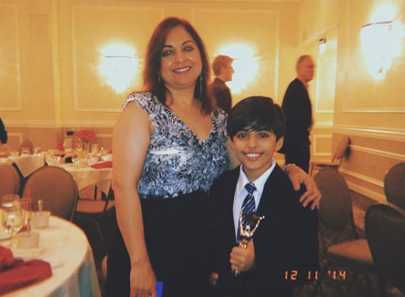 Karan Brar and his mother