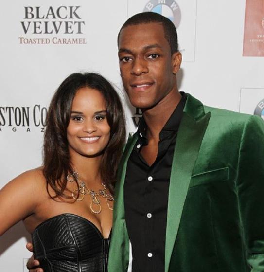 Rajon Rondo with his wife, Ashley Bachelor