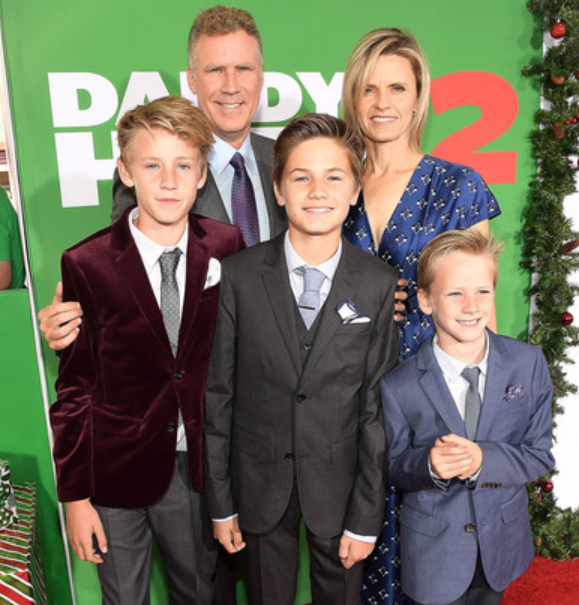 Will Ferrell with his wife, Viveca Paulin and their kids