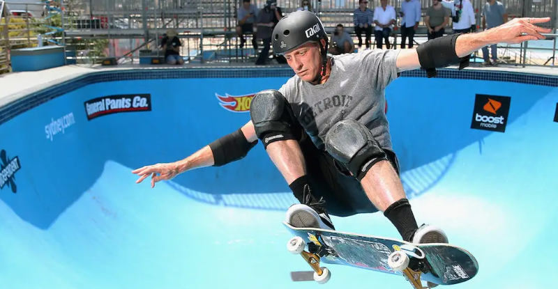 Tony Hawk, a famous skateboarder
