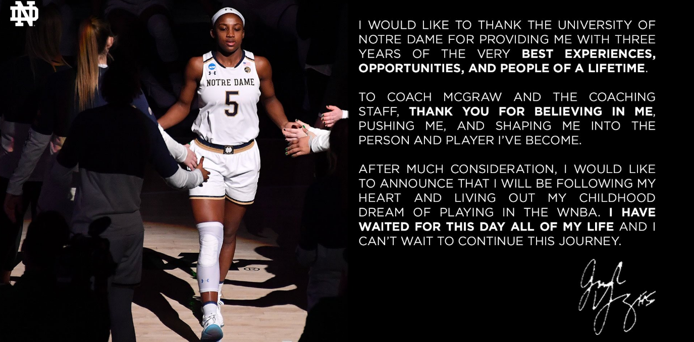 Jackie Young thank the university of Notre Dame