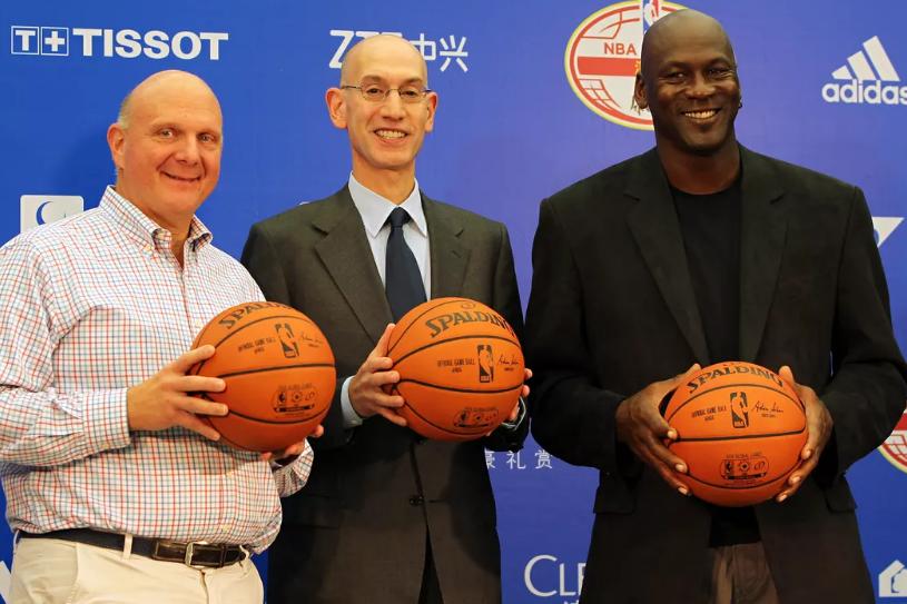 Steve Ballmer (Left), Adam Silver (Middle) and Michael Jordan (Right)