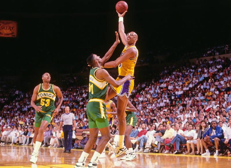 Kareem Abdul-Jabbar Holding the ball