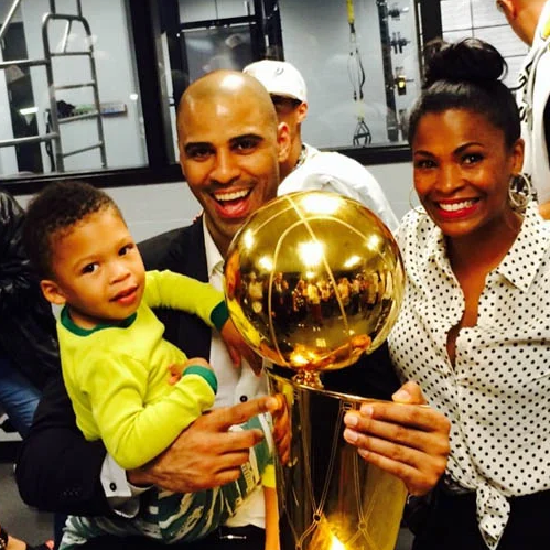 Ime Udoka with his wife, Nia Long and their son