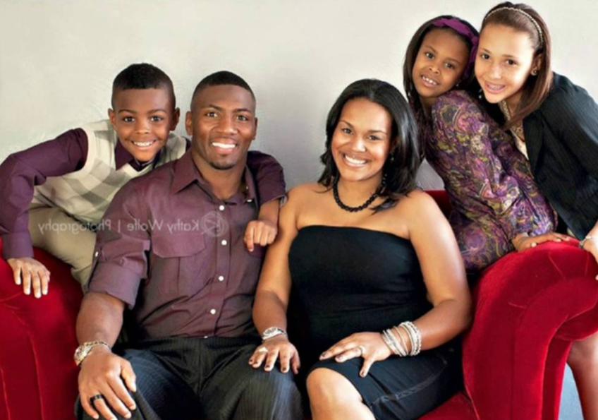 Ryan Clark with his wife and kids