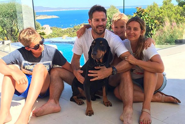 Jamie Redknapp with his ex-wife and kids