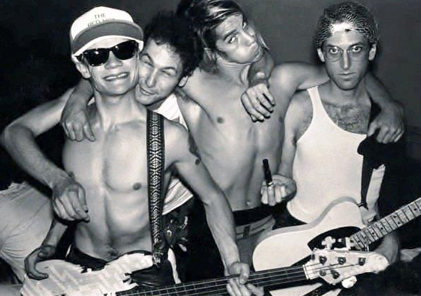 Jack Sherman with the band members of Red Hot Chili Peppers