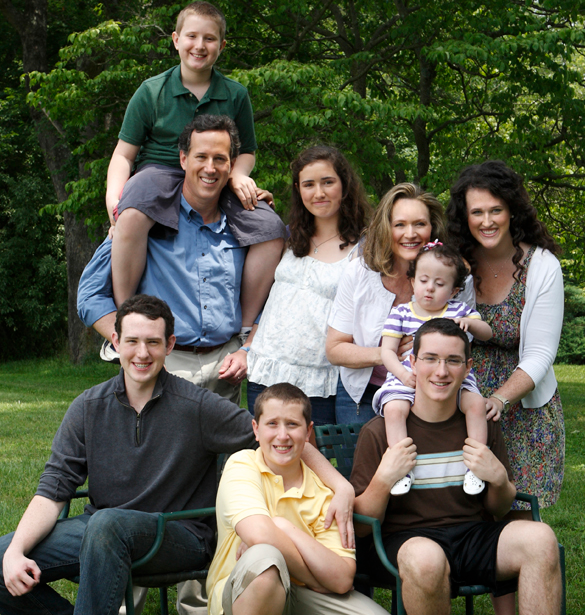Rick Santorum with his wife, Karen and their kids