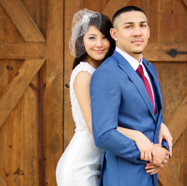 Teofimo Lopez with his wife, Cynthia Lopez