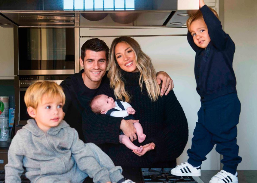 Alvaro Morata with his wife, Alice Campello and their kids