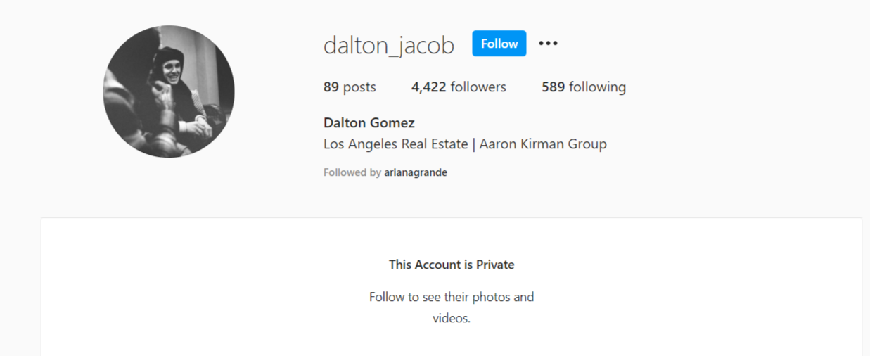 Dalton Gomez private instagram account