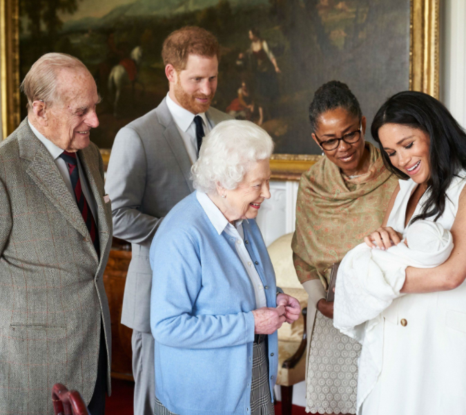 Meghan, Harry, and little Archie's grandmother, Doria and great-grandparents, the Queen and the Duke of Edinburgh