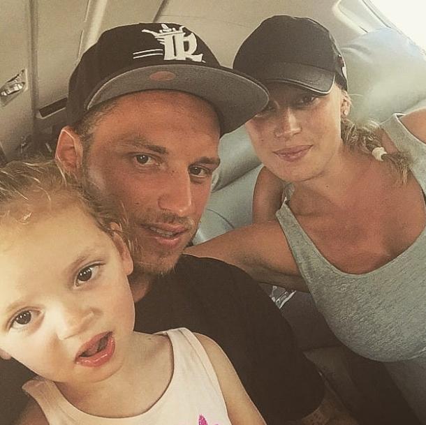 Marko Arnautovic with his wife, Sarah Lizakowski and their daughter
