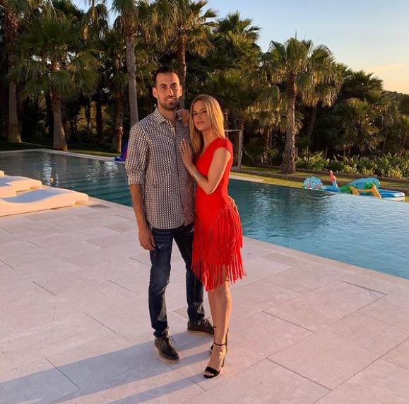 Sergio Busquets and his girlfriend, Elena Galera