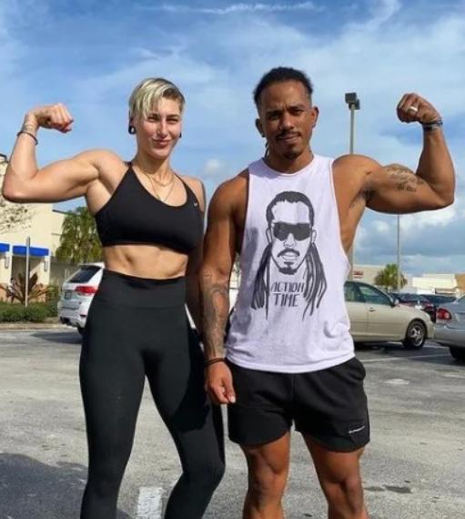 Rhea Ripley and her boyfriend Demetri 'Action' Jackson