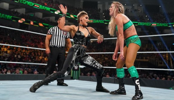 Rhea Ripley was defeated by Charlotte Flair at WWE Money in the Bank