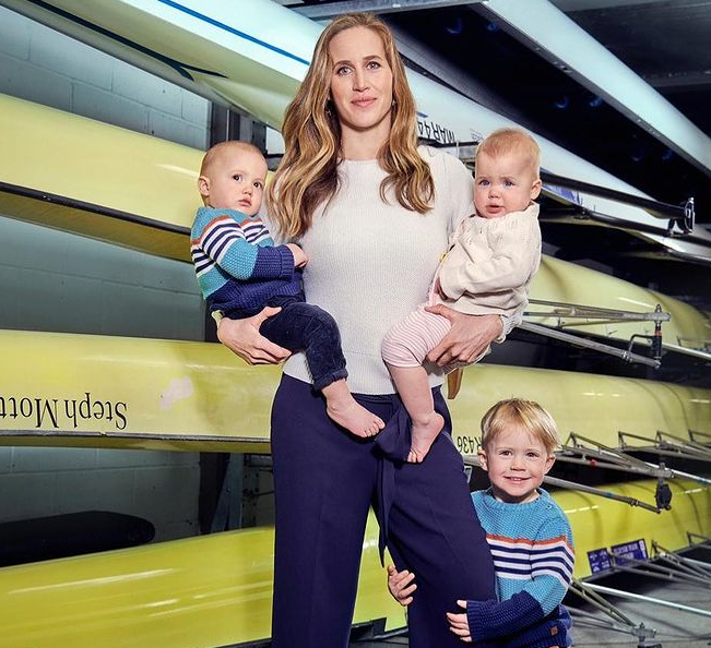 Helen Glover with her babies