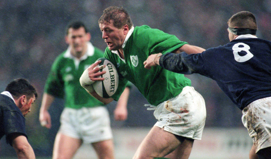 Neil Francis playing rugby for Ireland rugby team in 1996