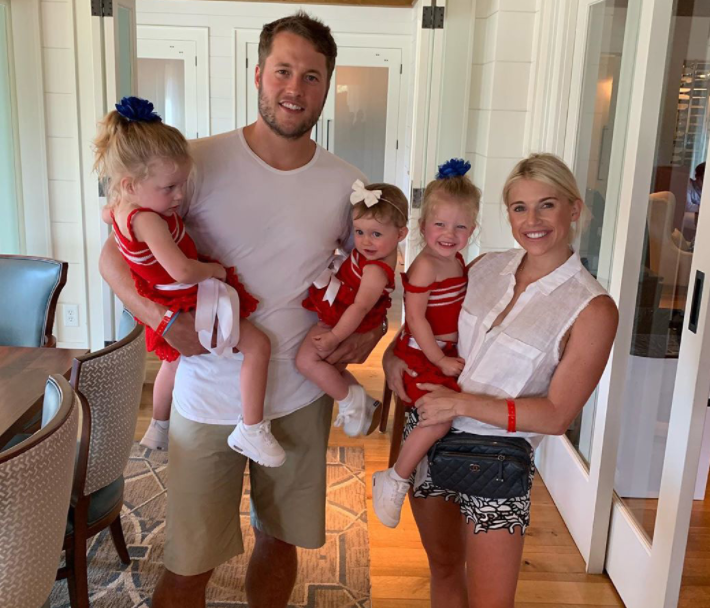 Matthew Stafford with his wife, Kelly Hall and their kids