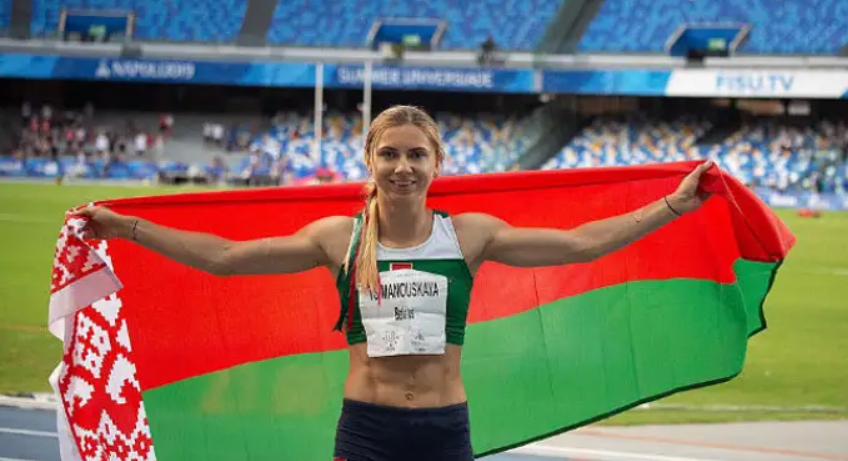 Krystsina Tsimanouskaya, a gold medal in the 200 metres at the 2019 Summer Universiade held in Naples, Italy