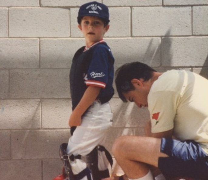 Trevor Bauer during his young age with his dad