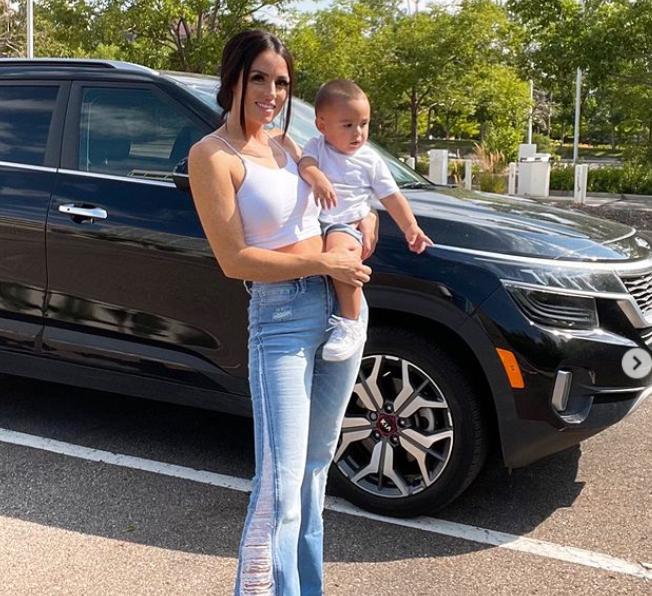 Amanda Garcia with her son