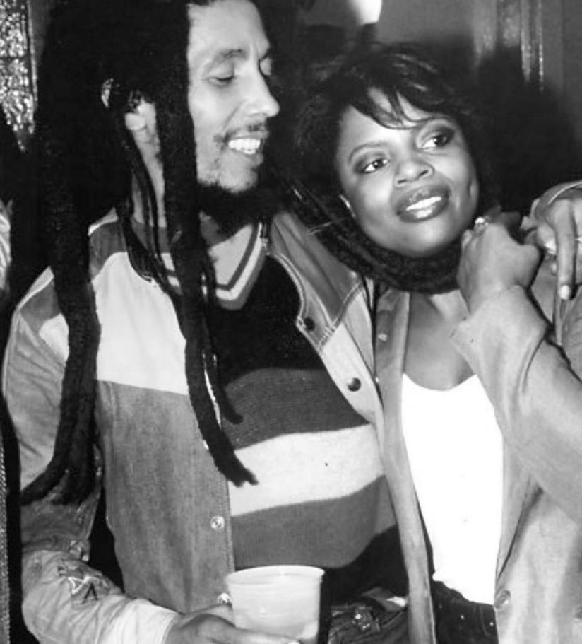 Sarah Dash with singer, Bob Marley