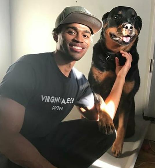 Kyle Bary and his pet dog 'Cigi'